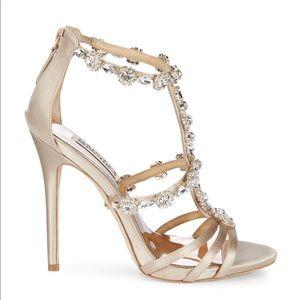 Badgley Mischka Thelma Satin Crystal Heels - IVORY
